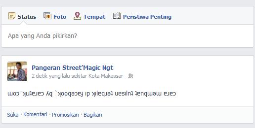 Cara membuat tulisan terbalik di facebook